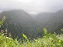 Blick in steile Täler und Bergflanken