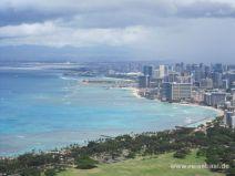 Aussicht auf Waikiki vom Diamond Head Krater auf Oahu