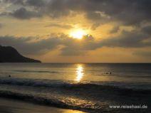 Sonnenuntergang am Beau Vallon auf Mahé