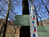 Schilder mit Wasserfallsteig
